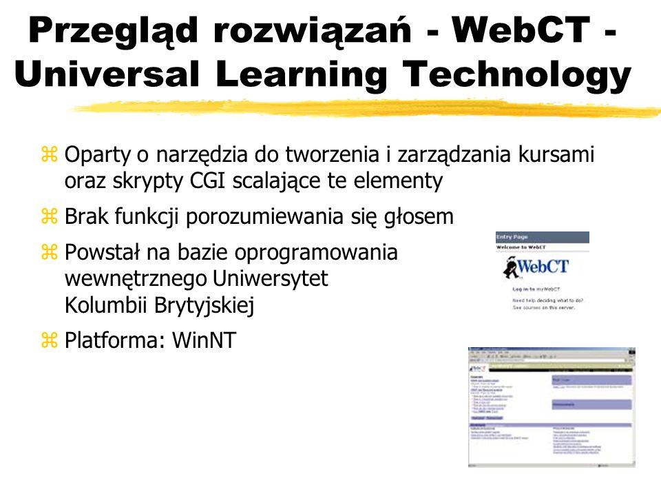Przegląd rozwiązań - WebCT - Universal Learning Technology zOparty o narzędzia do tworzenia i zarządzania kursami oraz skrypty CGI scalające te elemen