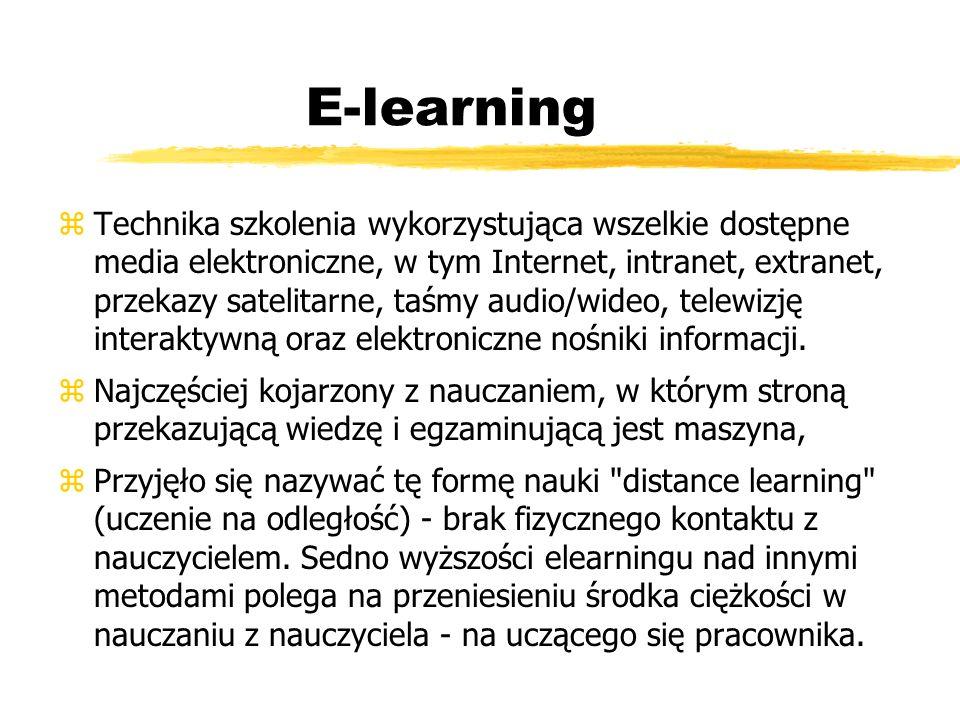 E-learning zTechnika szkolenia wykorzystująca wszelkie dostępne media elektroniczne, w tym Internet, intranet, extranet, przekazy satelitarne, taśmy a