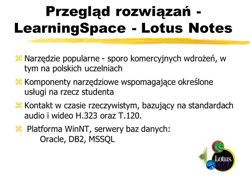 Przegląd rozwiązań - LearningSpace - Lotus Notes zNarzędzie popularne - sporo komercyjnych wdrożeń, w tym na polskich uczelniach zKomponenty narzędzio