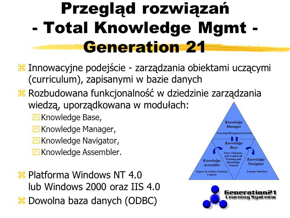 Przegląd rozwiązań - Total Knowledge Mgmt - Generation 21 zInnowacyjne podejście - zarządzania obiektami uczącymi (curriculum), zapisanymi w bazie dan