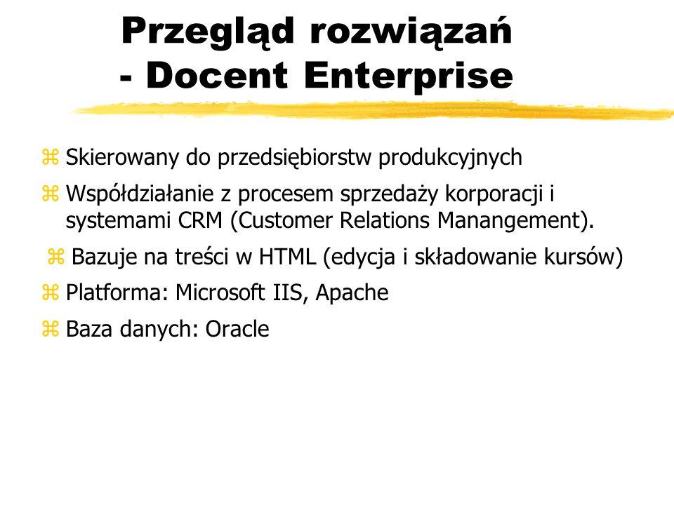 Przegląd rozwiązań - Docent Enterprise zSkierowany do przedsiębiorstw produkcyjnych zWspółdziałanie z procesem sprzedaży korporacji i systemami CRM (C
