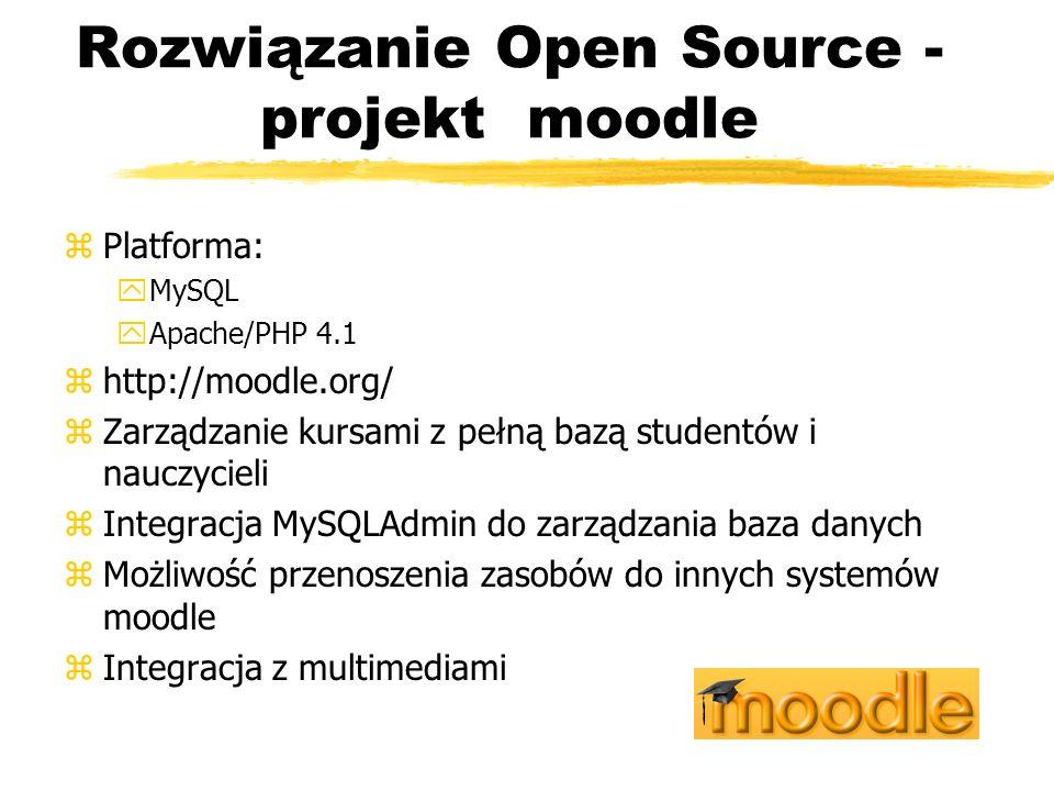 Rozwiązanie Open Source - projekt moodle zPlatforma: yMySQL yApache/PHP 4.1 zhttp://moodle.org/ zZarządzanie kursami z pełną bazą studentów i nauczyci