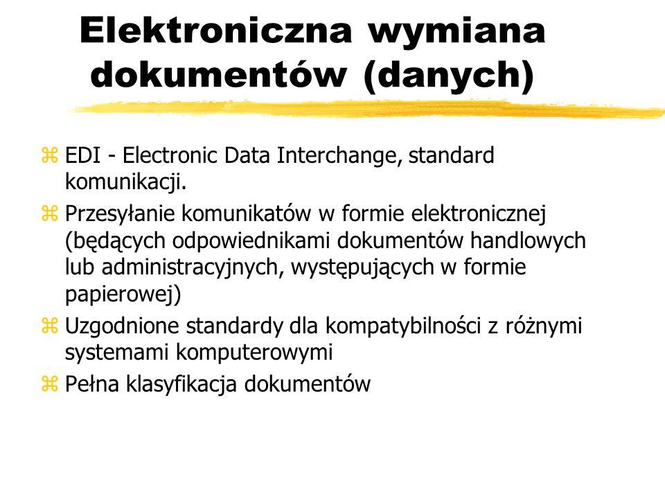 Elektroniczna wymiana dokumentów (danych) zEDI - Electronic Data Interchange, standard komunikacji. zPrzesyłanie komunikatów w formie elektronicznej (