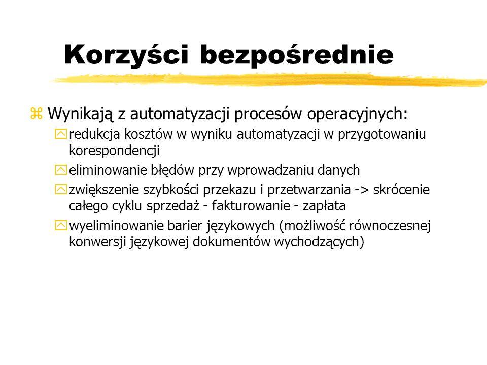 Korzyści bezpośrednie zWynikają z automatyzacji procesów operacyjnych: yredukcja kosztów w wyniku automatyzacji w przygotowaniu korespondencji yelimin