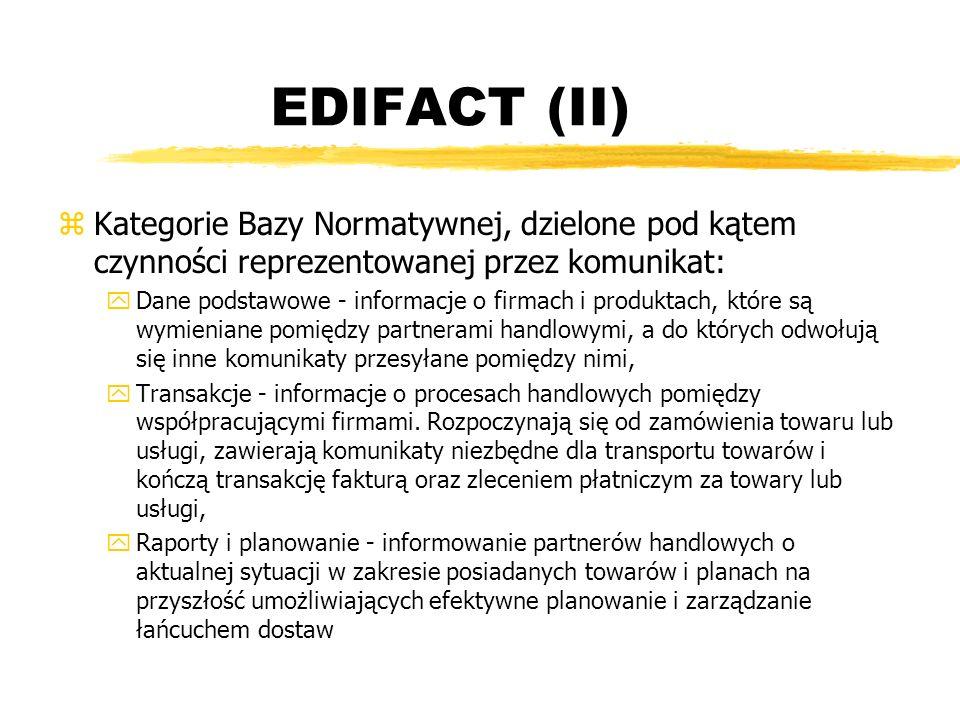 EDIFACT (II) zKategorie Bazy Normatywnej, dzielone pod kątem czynności reprezentowanej przez komunikat: yDane podstawowe - informacje o firmach i prod