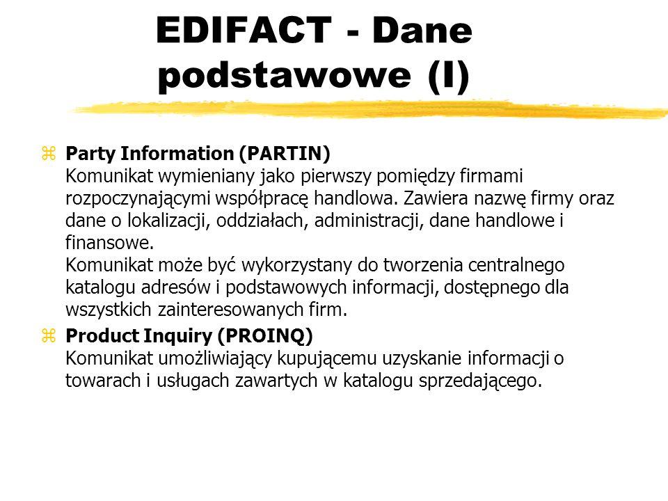 EDIFACT - Dane podstawowe (I) zParty Information (PARTIN) Komunikat wymieniany jako pierwszy pomiędzy firmami rozpoczynającymi współpracę handlowa. Za