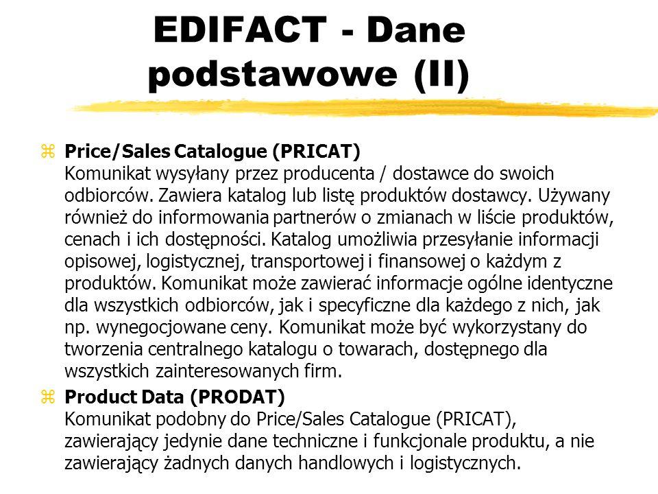 EDIFACT - Dane podstawowe (II) zPrice/Sales Catalogue (PRICAT) Komunikat wysyłany przez producenta / dostawce do swoich odbiorców. Zawiera katalog lub