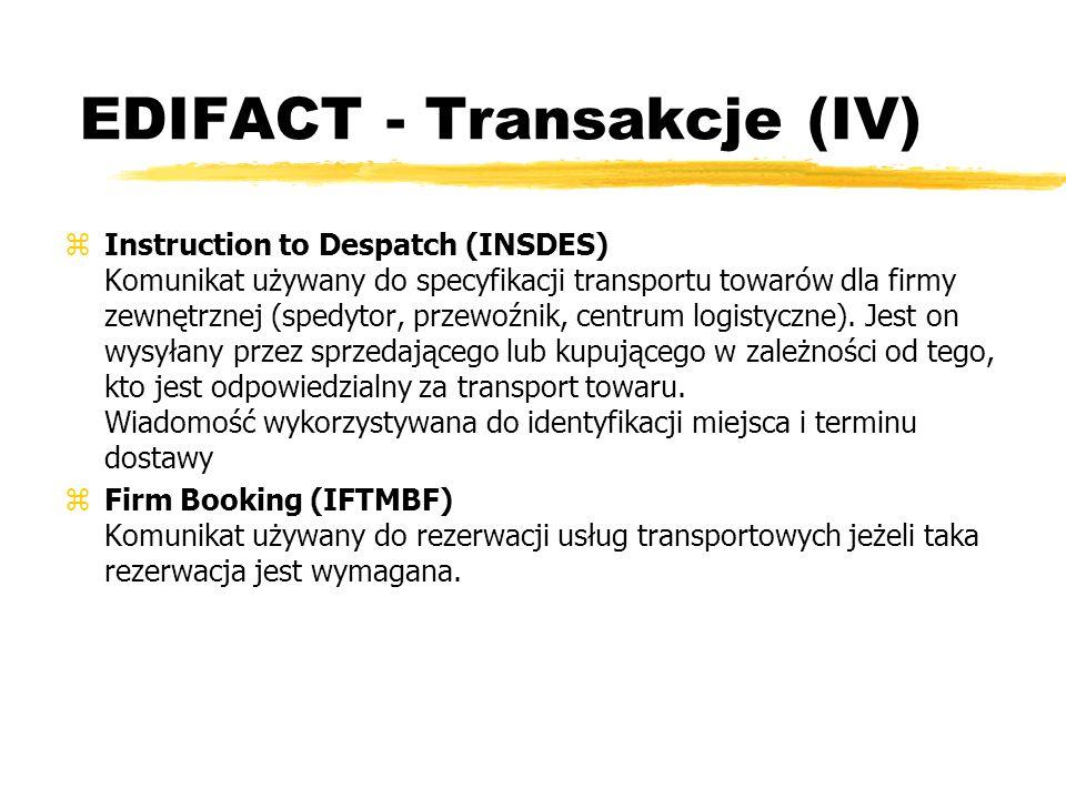 EDIFACT - Transakcje (IV) zInstruction to Despatch (INSDES) Komunikat używany do specyfikacji transportu towarów dla firmy zewnętrznej (spedytor, prze