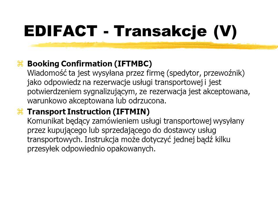 EDIFACT - Transakcje (V) zBooking Confirmation (IFTMBC) Wiadomość ta jest wysyłana przez firmę (spedytor, przewoźnik) jako odpowiedz na rezerwacje usł
