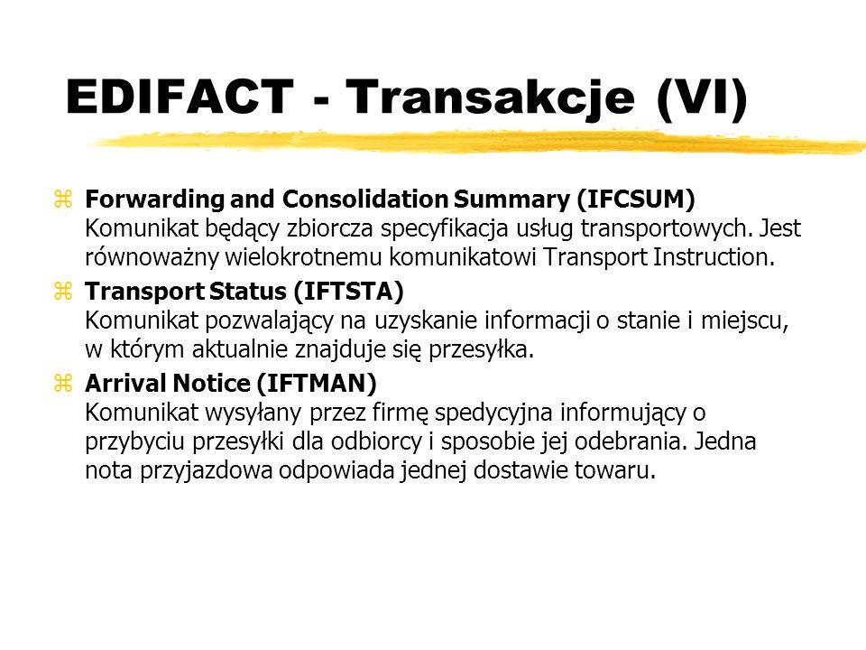 EDIFACT - Transakcje (VI) zForwarding and Consolidation Summary (IFCSUM) Komunikat będący zbiorcza specyfikacja usług transportowych. Jest równoważny