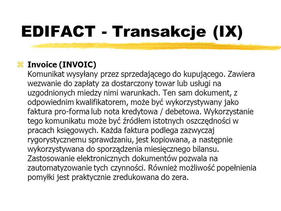 EDIFACT - Transakcje (IX) zInvoice (INVOIC) Komunikat wysyłany przez sprzedającego do kupującego. Zawiera wezwanie do zapłaty za dostarczony towar lub
