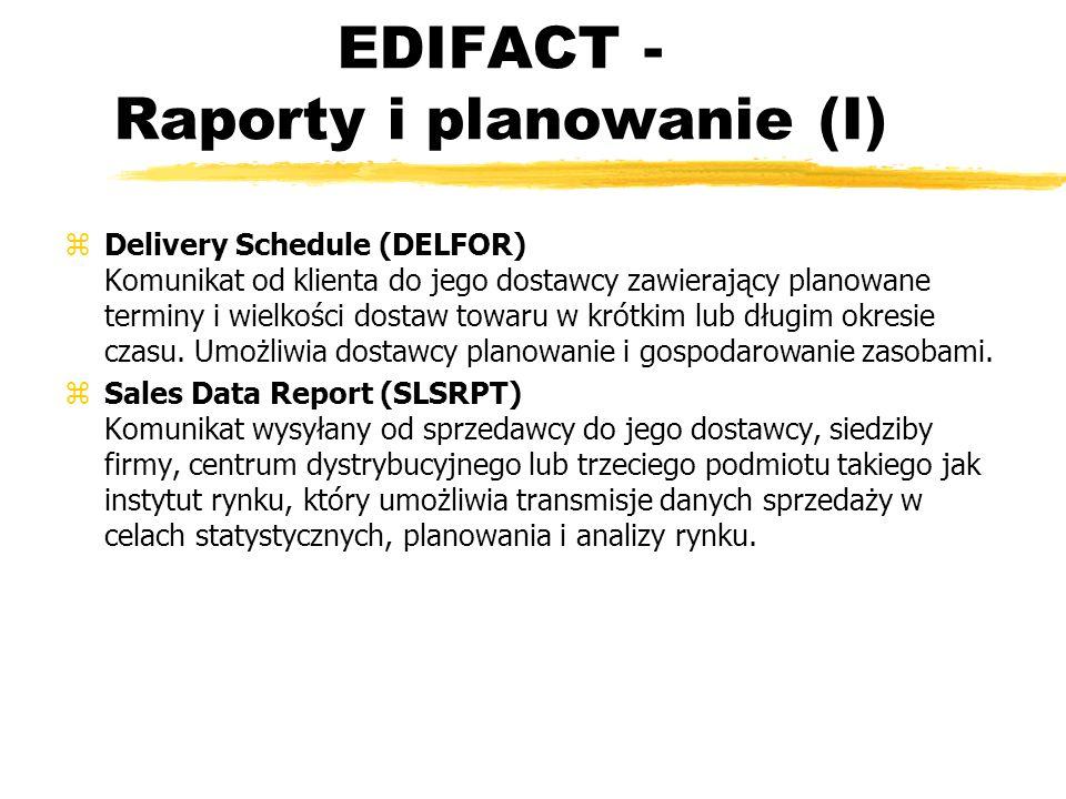 EDIFACT - Raporty i planowanie (I) zDelivery Schedule (DELFOR) Komunikat od klienta do jego dostawcy zawierający planowane terminy i wielkości dostaw