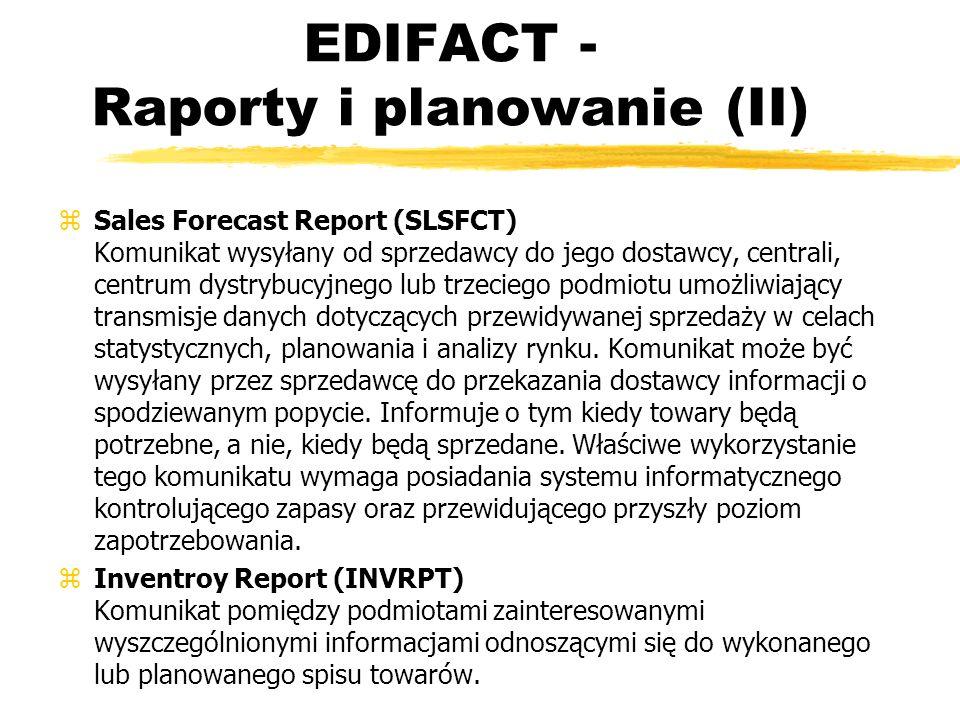 EDIFACT - Raporty i planowanie (II) zSales Forecast Report (SLSFCT) Komunikat wysyłany od sprzedawcy do jego dostawcy, centrali, centrum dystrybucyjne