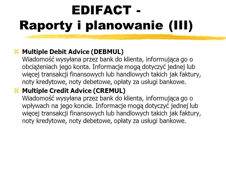EDIFACT - Raporty i planowanie (III) zMultiple Debit Advice (DEBMUL) Wiadomość wysyłana przez bank do klienta, informująca go o obciążeniach jego kont