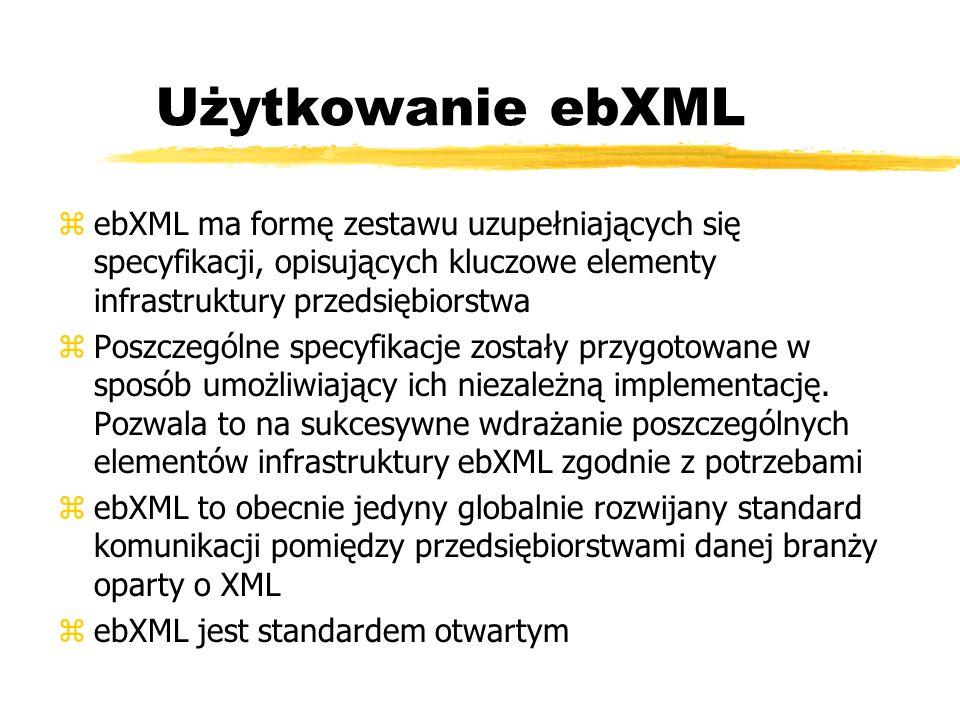 Użytkowanie ebXML zebXML ma formę zestawu uzupełniających się specyfikacji, opisujących kluczowe elementy infrastruktury przedsiębiorstwa zPoszczególn