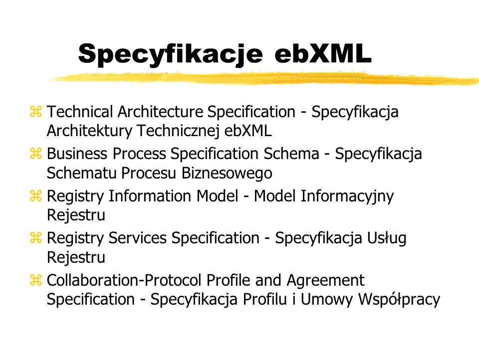 Specyfikacje ebXML zTechnical Architecture Specification - Specyfikacja Architektury Technicznej ebXML zBusiness Process Specification Schema - Specyf