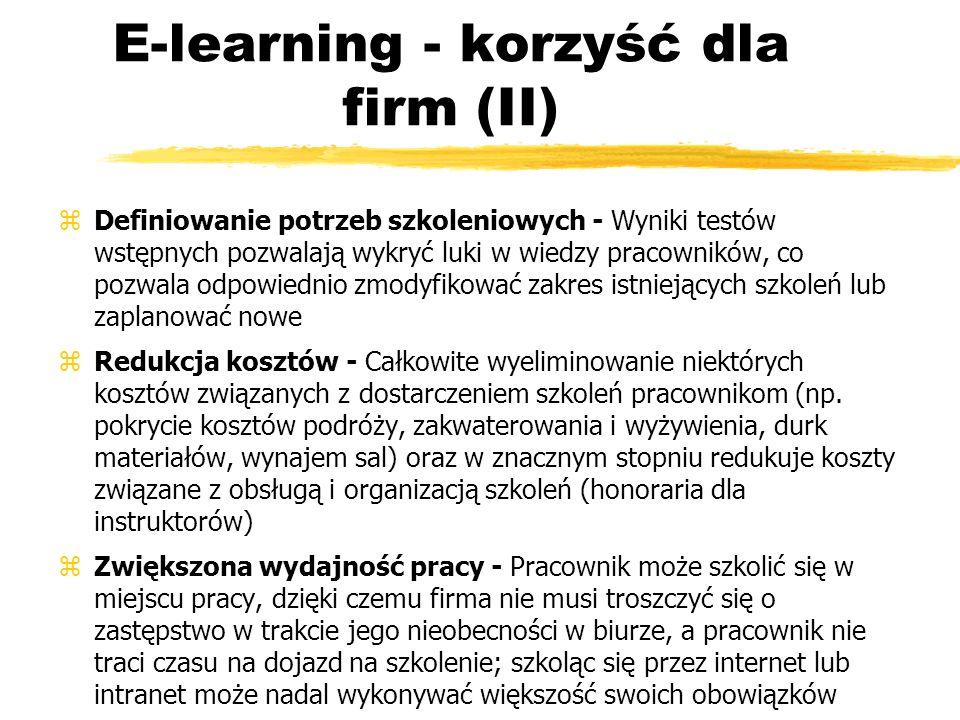 E-learning - korzyść dla firm (III) zSzkolenia na zawołanie - Pracownicy mogą samodzielnie podnosić swoje kwalifikacje o dowolnej porze i z dowolnego miejsca, a firma ma możliwość szybkiego przeszkolenia dużych grup, co często jest konieczne przy fuzjach przedsiębiorstw, wprowadzaniu nowych produktów lub zmiany przepisów prawnych i regulacji wewnętrznych zOptymalizacja pracy działu szkoleń - Obsługa uczestników szkoleń w dużej mierze odbywa się automatycznie, system LMS generuje raporty dotyczące wyników w nauce, dzieki czemu pracownicy działu szkoleń mają mniej pracy administracyjnej i mogą się skoncentrować na rozwoju strategii szkoleniowej firmy