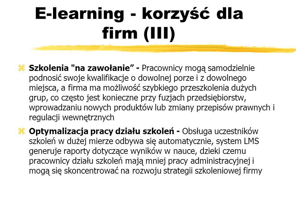 E-learning - korzyść dla firm (III) zSzkolenia