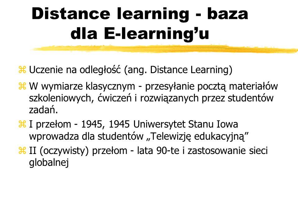Distance learning - rozwiązania asynchroniczne zWymiana informacji między nauczycielem a studentami nie odbywa się w czasie rzeczywistym zBrak kontaktu studenta z nauczycielem oraz współuczniami (umożliwiającego natychmiastową konsultację, korekty błędów itp.) zPrzykłady: Topclass, Virtual-U, WebCT, Docent, Total Knowledge Management (TKM) zNarzędzia grupy z asynchronicznych: yKonwertery dokumentów do formatu wspólnego (np.