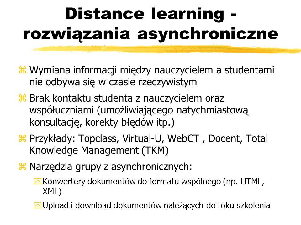 Distance learning - rozwiązania synchroniczne (I) zZwane także rozwiązaniami czasu rzeczywistego zNarzędzia synchroniczne pozwalają uczestnikom kursu oraz nauczycielowi komunikować się swobodnie, tak jakby siedzieli obok siebie w jednym pomieszczeniu zProdukty zawierają wbudowany, oparty o przeglądarkę mechanizm komunikacji głosowej bazujący na Voice over IP zPrzykłady: LearningSpace Lotusa, Courseinfo Blackboarda, LearnLinc, Classpoint