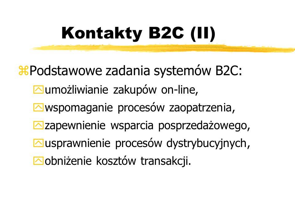 Kontakty B2C (II) zPodstawowe zadania systemów B2C: yumożliwianie zakupów on-line, ywspomaganie procesów zaopatrzenia, yzapewnienie wsparcia posprzeda