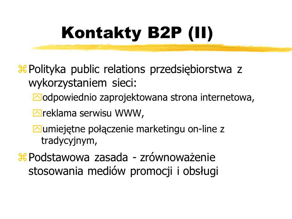 Kontakty B2P (II) zPolityka public relations przedsiębiorstwa z wykorzystaniem sieci: yodpowiednio zaprojektowana strona internetowa, yreklama serwisu