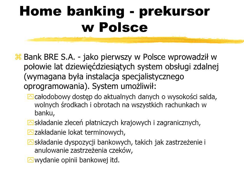 Home banking - prekursor w Polsce zBank BRE S.A. - jako pierwszy w Polsce wprowadził w połowie lat dziewięćdziesiątych system obsługi zdalnej (wymagan
