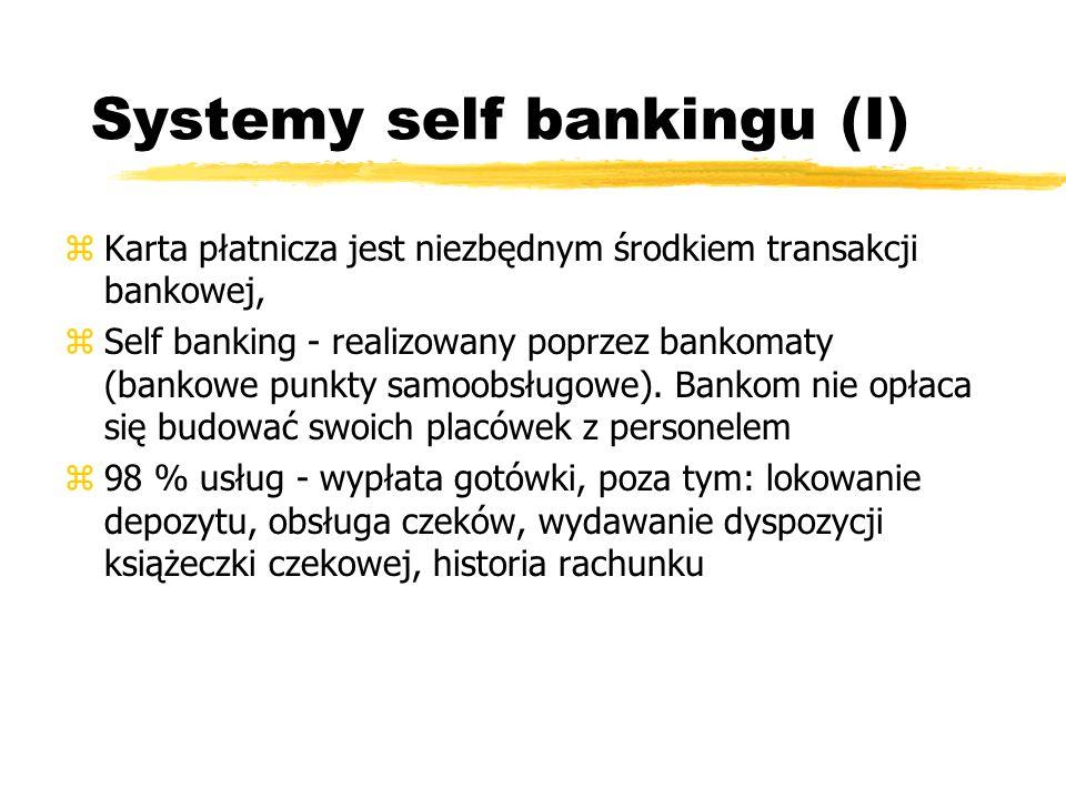 Systemy self bankingu (I) zKarta płatnicza jest niezbędnym środkiem transakcji bankowej, zSelf banking - realizowany poprzez bankomaty (bankowe punkty