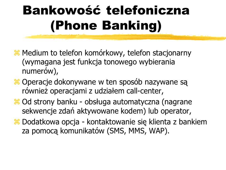 Bankowość telefoniczna (Phone Banking) zMedium to telefon komórkowy, telefon stacjonarny (wymagana jest funkcja tonowego wybierania numerów), zOperacj
