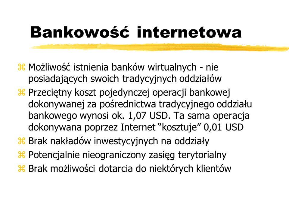 Bankowość internetowa zMożliwość istnienia banków wirtualnych - nie posiadających swoich tradycyjnych oddziałów z Przeciętny koszt pojedynczej operacj