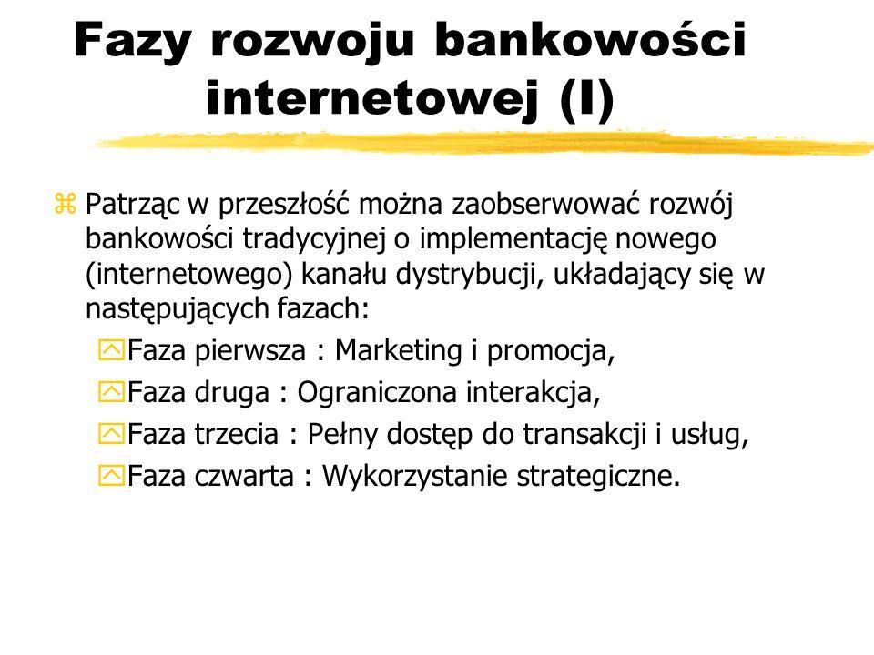 Fazy rozwoju bankowości internetowej (I) zPatrząc w przeszłość można zaobserwować rozwój bankowości tradycyjnej o implementację nowego (internetowego)