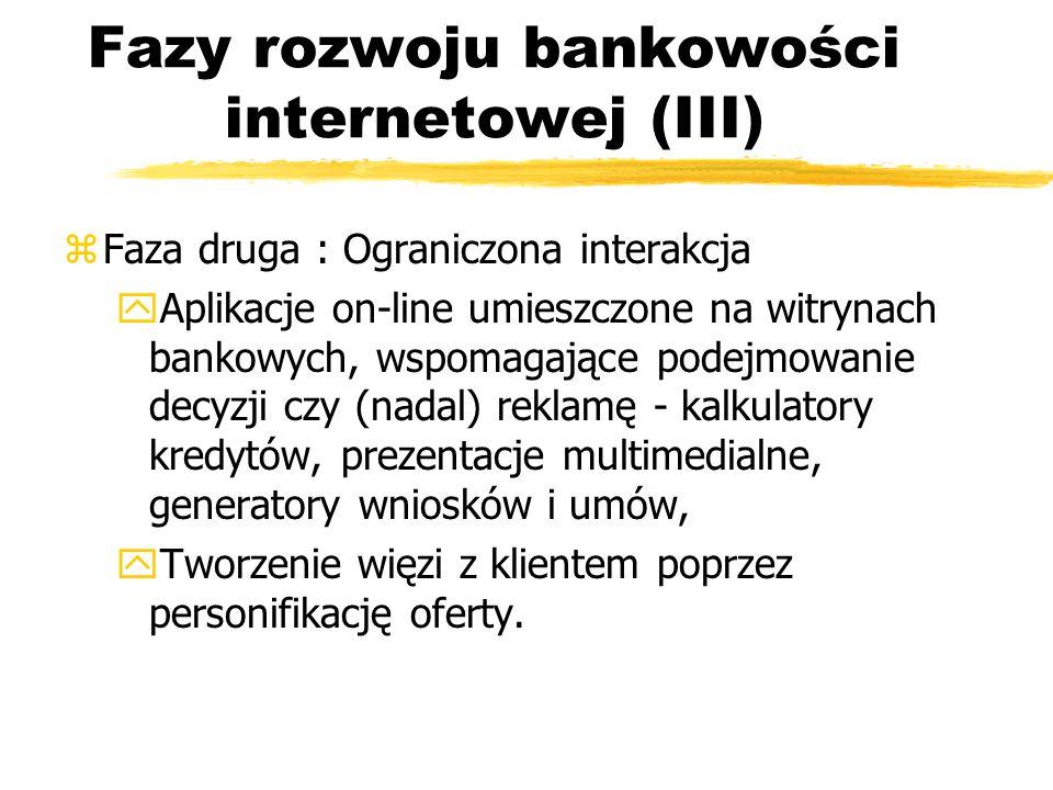 Fazy rozwoju bankowości internetowej (III) zFaza druga : Ograniczona interakcja y Aplikacje on-line umieszczone na witrynach bankowych, wspomagające p