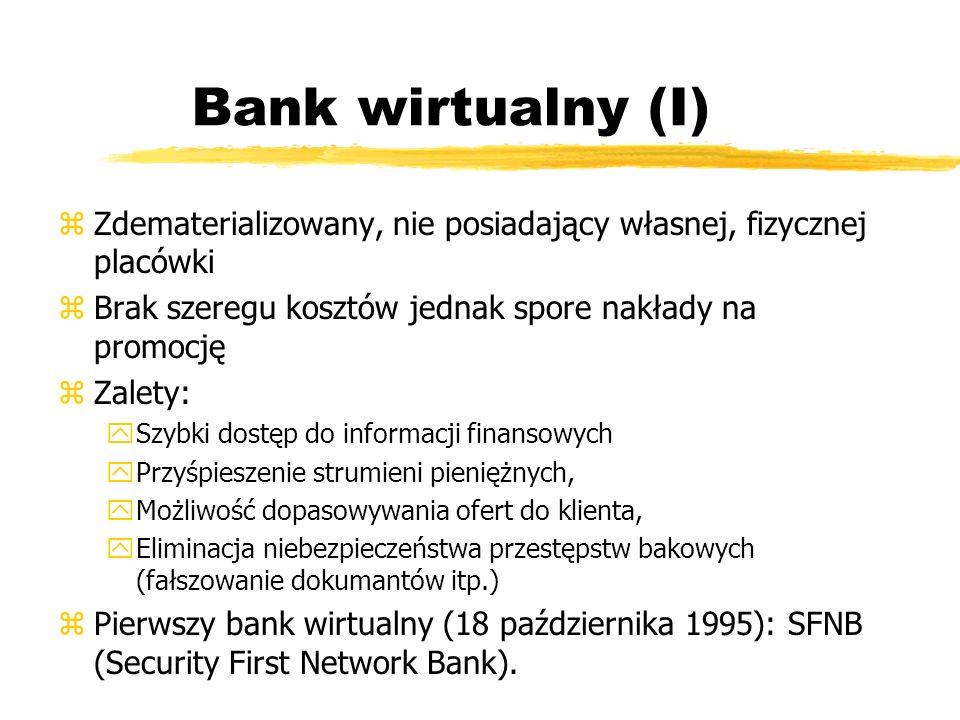 Bank wirtualny (I) z Zdematerializowany, nie posiadający własnej, fizycznej placówki z Brak szeregu kosztów jednak spore nakłady na promocję z Zalety: