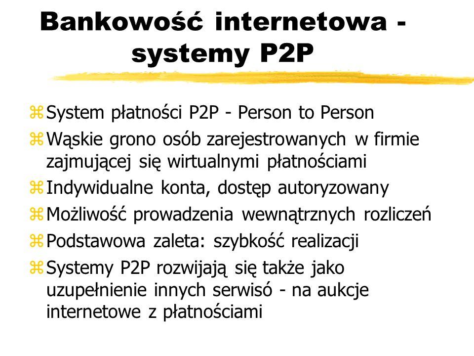 Bankowość internetowa - systemy P2P zSystem płatności P2P - Person to Person zWąskie grono osób zarejestrowanych w firmie zajmującej się wirtualnymi p