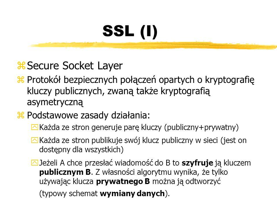 SSL (I) z Secure Socket Layer zProtokół bezpiecznych połączeń opartych o kryptografię kluczy publicznych, zwaną także kryptografią asymetryczną zPodst