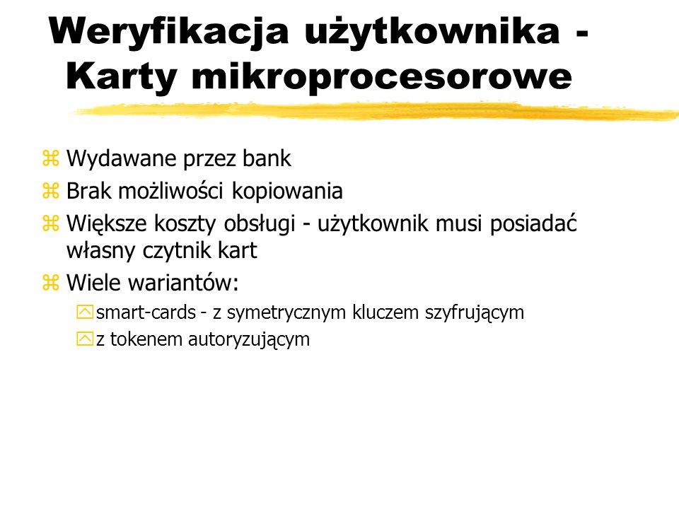 Weryfikacja użytkownika - Karty mikroprocesorowe zWydawane przez bank zBrak możliwości kopiowania zWiększe koszty obsługi - użytkownik musi posiadać w