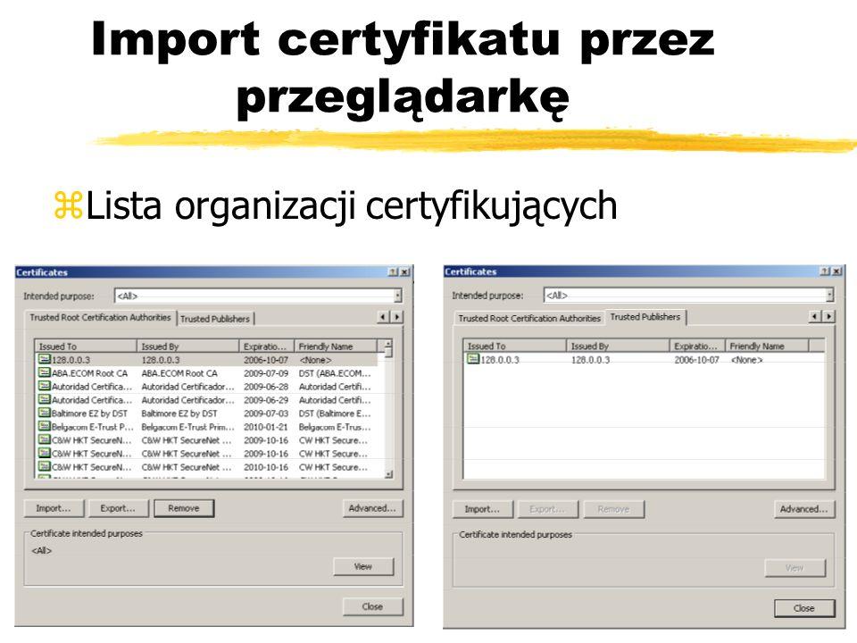 Import certyfikatu przez przeglądarkę zLista organizacji certyfikujących
