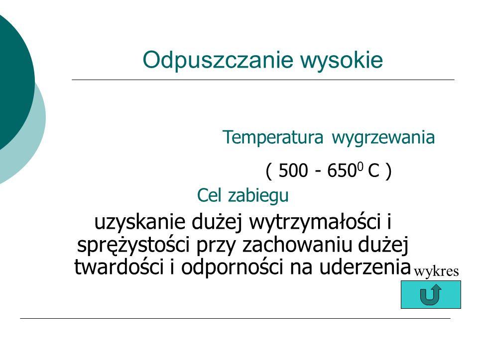 Odpuszczanie średnie Temperatura wygrzewania ( 300 - 500 ) Cel zabiegu (zachowanie wysokiej wytrzymałości i sprężystości przy dostatecznie dużej ciągl