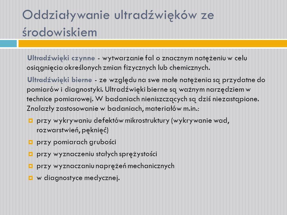 Oddziaływanie ultradźwięków ze środowiskiem Spektroskopia Defektoskopia ultradźwiękowa Tensometria Emisja akustyczna Diagnostyka medyczna (wizualizacja, tomografia) Mikroskopia Hydrolokacja Sterowanie procesami technologicznymi Koagulacja (łączenie cząstek) Dyspergowanie (rozdrabnianie) Terapia medyczna Kawitacja Sonochemia Rozkruszanie Formowanie ośrodków twardych Spajanie i lutowanie Mycie ultradźwiękami Ekstrakcja Suszenie substancji BierneCzynne