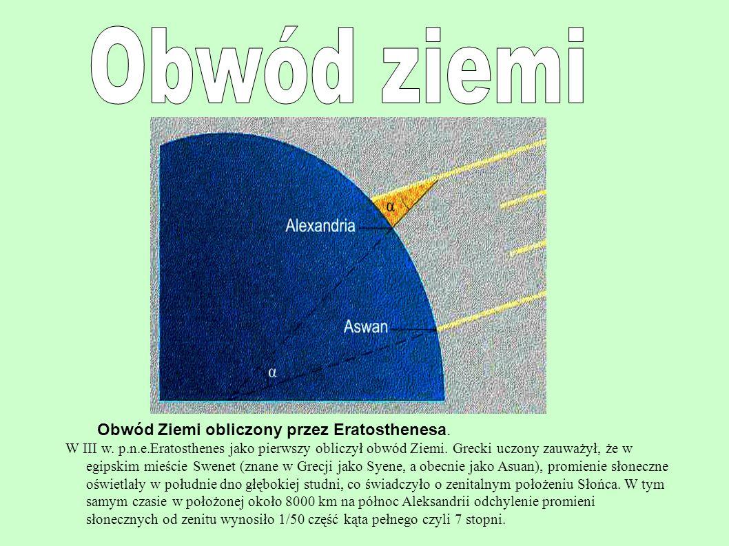 Obwód Ziemi obliczony przez Eratosthenesa. W III w. p.n.e.Eratosthenes jako pierwszy obliczył obwód Ziemi. Grecki uczony zauważył, że w egipskim mieśc