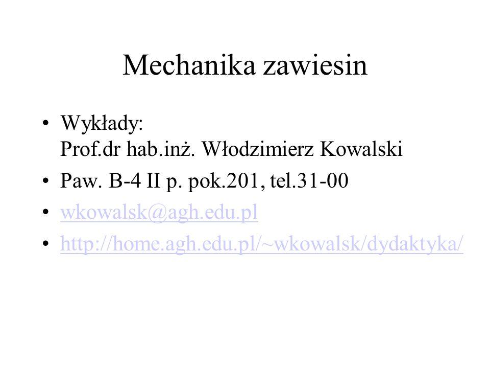Mechanika zawiesin Wykłady: Prof.dr hab.inż. Włodzimierz Kowalski Paw. B-4 II p. pok.201, tel.31-00 wkowalsk@agh.edu.pl http://home.agh.edu.pl/~wkowal