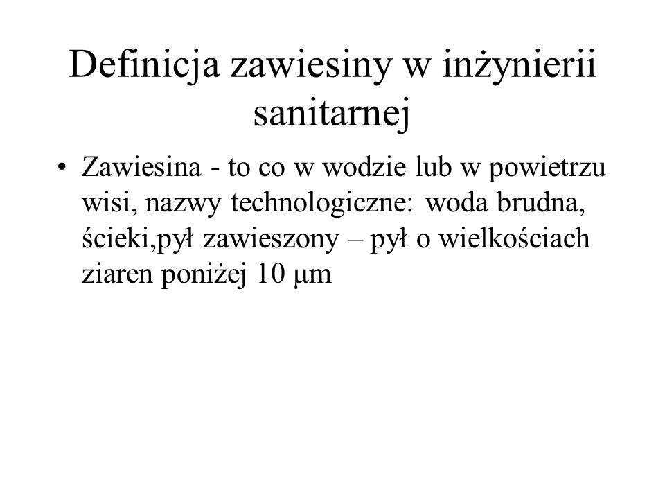 Definicja zawiesiny w inżynierii sanitarnej Zawiesina - to co w wodzie lub w powietrzu wisi, nazwy technologiczne: woda brudna, ścieki,pył zawieszony