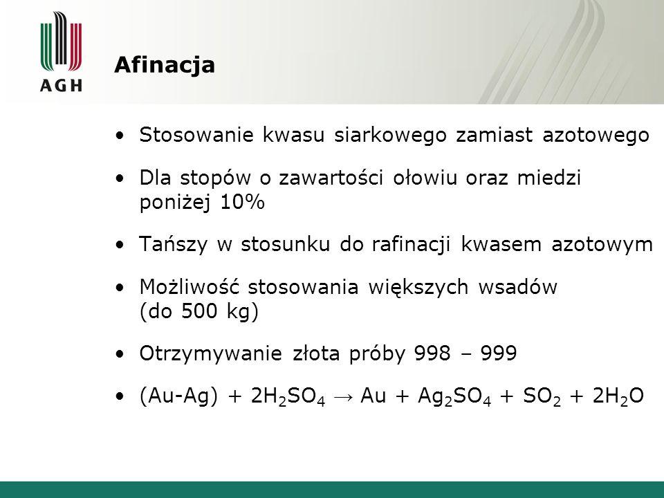 Afinacja Stosowanie kwasu siarkowego zamiast azotowego Dla stopów o zawartości ołowiu oraz miedzi poniżej 10% Tańszy w stosunku do rafinacji kwasem az