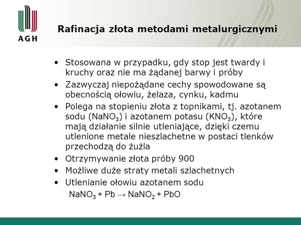 Rafinacja złota metodami metalurgicznymi Stosowana w przypadku, gdy stop jest twardy i kruchy oraz nie ma żądanej barwy i próby Zazwyczaj niepożądane