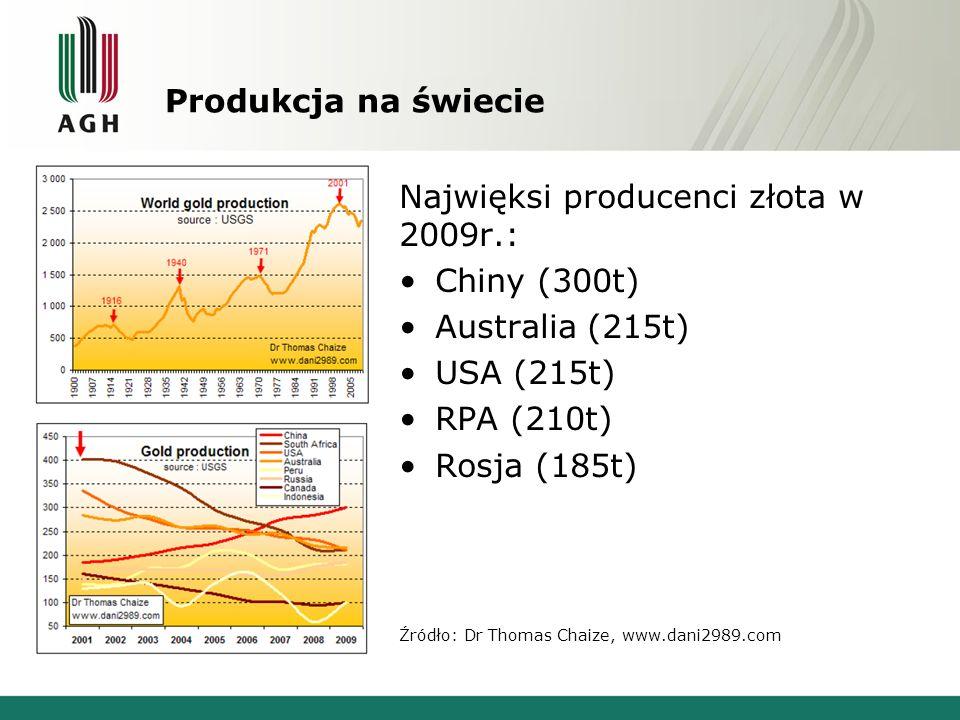 Produkcja na świecie Najwięksi producenci złota w 2009r.: Chiny (300t) Australia (215t) USA (215t) RPA (210t) Rosja (185t) Źródło: Dr Thomas Chaize, w