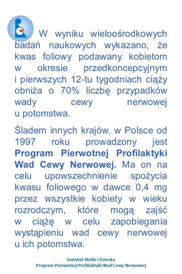 Instytut Matki i Dziecka Program Pierwotnej Profilaktyki Wad Cewy Nerwowej Preparaty witaminowe dostępne w Polsce Uwaga.