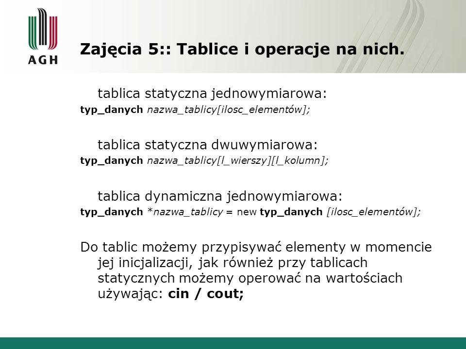 Zajęcia 5:: Tablice i operacje na nich. tablica statyczna jednowymiarowa: typ_danych nazwa_tablicy[ilosc_elementów]; tablica statyczna dwuwymiarowa: t