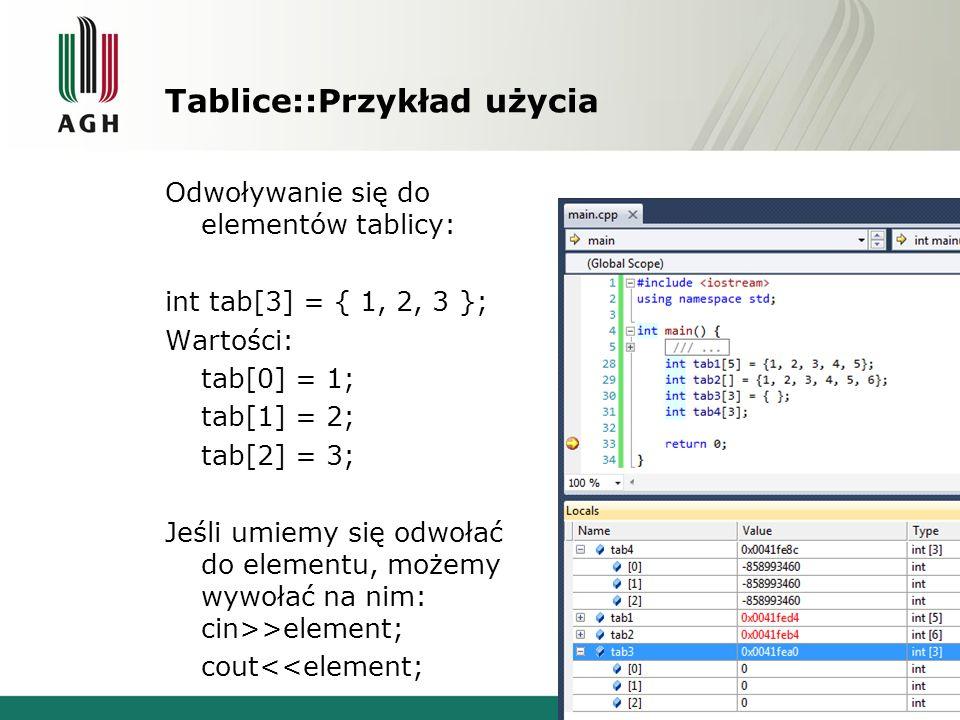 Tablice::Przykład użycia Odwoływanie się do elementów tablicy: int tab[3] = { 1, 2, 3 }; Wartości: tab[0] = 1; tab[1] = 2; tab[2] = 3; Jeśli umiemy si