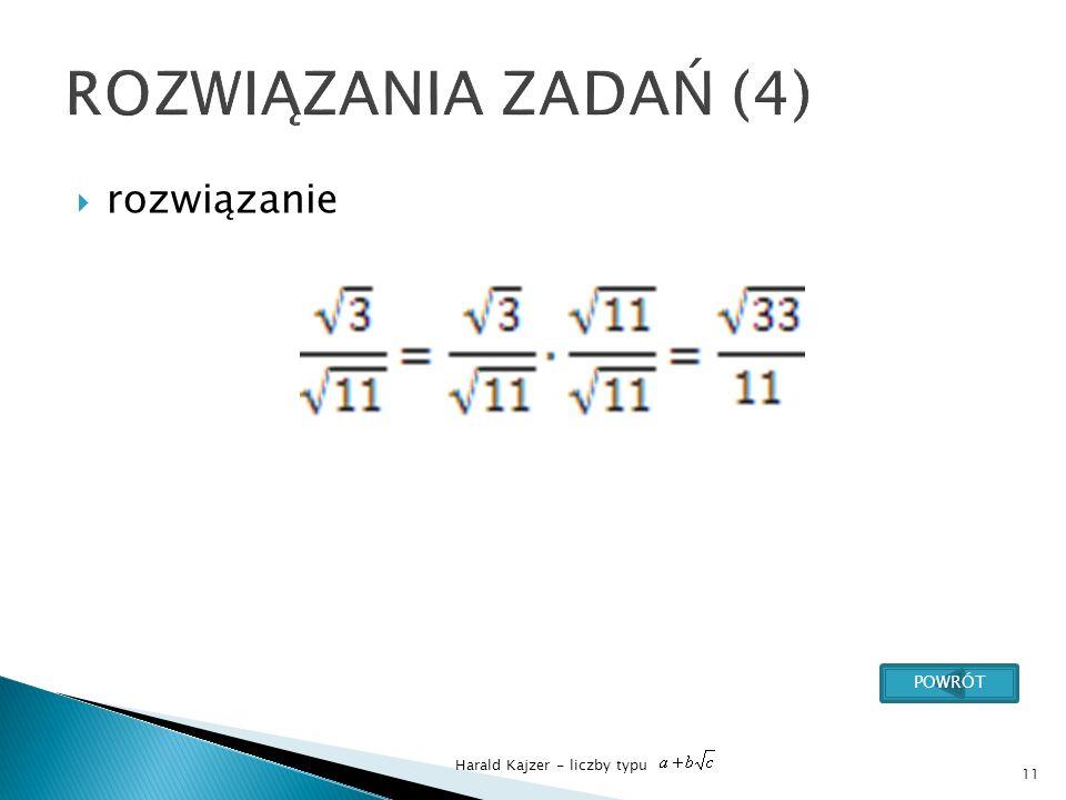 Harald Kajzer - liczby typu rozwiązanie 11 POWRÓT