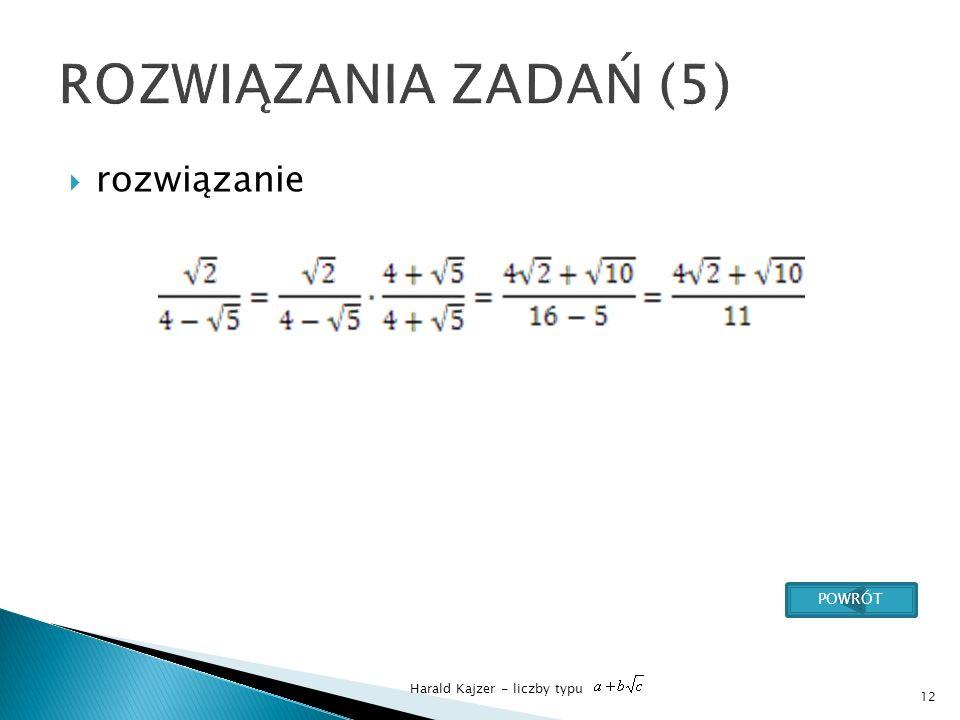 Harald Kajzer - liczby typu rozwiązanie 12 POWRÓT